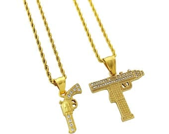 Gold gun necklace etsy 18k gold plated two piece stainless steel necklace set with hand gun uzi gun pendants aloadofball Image collections