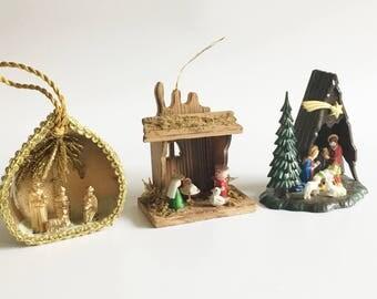Vintage Nativity Ornament Set of Three Miniature Nativity Manger Creche Ornaments