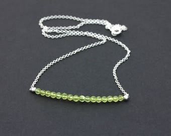Peridot Gemstone Bar 925 Sterling Silver Chain Necklace / Green Stone Bar Necklace / Dainty Layering Necklace / August Birthstone Necklace