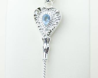 Unique Key Designs Blue Topaz 925 S0LID Sterling Silver Pendant + 4MM Snake Chain p4186