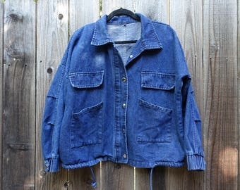 Boxy Denim Snap Button Jacket