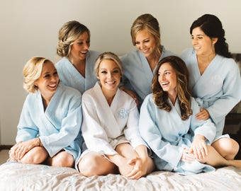 Bridesmaid Gifts - Bridesmaid Robes - Set of 7 Monogrammed White Kimono Waffle Weave Robes for Wedding Party Bridesmaids Gifts Bridal Gifts