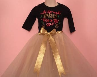 Tea Length Gold Diamond Tulle Princess Skirt