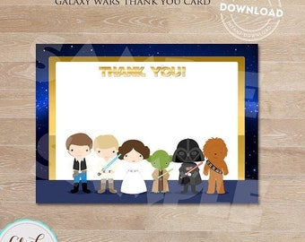 50% OFF SALE Galaxy wars Thank you card, Note Card Star wars, thank you card Printable,  Birthday party decorations, Party supplies, INSTANT