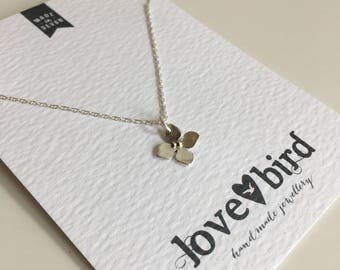Hydrangea Flower Pendant Necklace (small), silver and gold, wedding necklace, bridesmaid necklace, bridesmaid gift