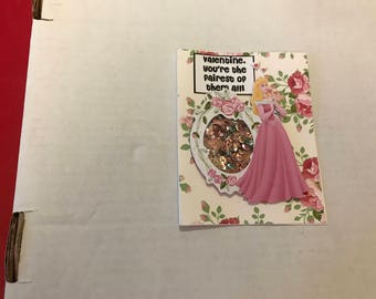 Valentine cards, handmade set of 4, Disney Princess theme #2
