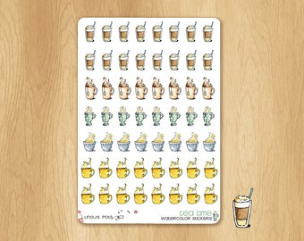 56 Watercolor Stickers for Tea or Coffee Time : Perfect for Life Planners, Bullet Journals, etc...
