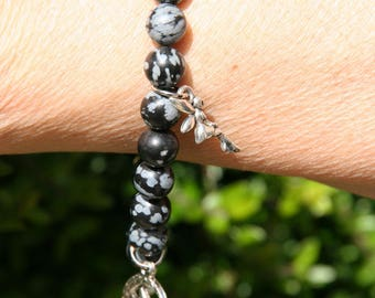 Bracelet Obsidian snowflake with fairy charms