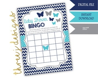 Butterfly Baby Shower BINGO Game - INSTANT DOWNLOAD - Navy Blue, Teal and Gray - Digital File - J007
