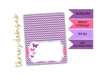 Butterfly Baby Shower Food Tent Cards - INSTANT DOWNLOAD - Purple and Pink - Digital File - J002