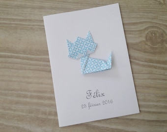 Invitation - baptism - cat blue origami thank you card