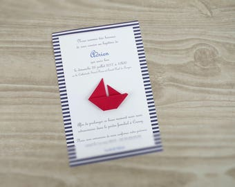 Custom baptism or birth sailboat boat origami - blue red for boy or girl handmade nautical