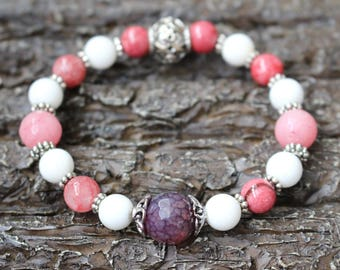 Stone bracelet, rhodonite, shellstone, agate