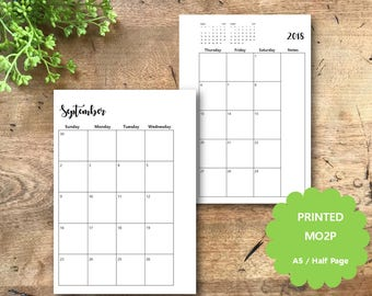 PRINTED MONTHLY Planner Pages, 2018 Dated, Monthly Calendar, A5, Half Page,  Monthly Planner Inserts, Filofax, Kikki K