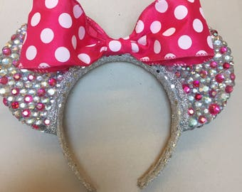 Hot Pink Polka-Dot Minnie Mouse Ears
