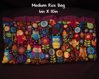 Owls and flowers Rice Bag; Medium Booboo; 6 x 10; Heat Or Cold Therapy; Freezable; Boo Boo Rice Bag; Natural Migraine Help