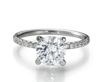 2.40 CT Real Round Cut Diamond Engagement Ring 14K White Gold F/SI1