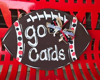 Football Door Hanger, Custom Football Door Hanger, Painted Football Door Hanger, Painted Football