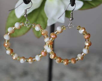 Beaded Large Hoop Earrings, Gold and White Glass Beads, Fashion Earrings