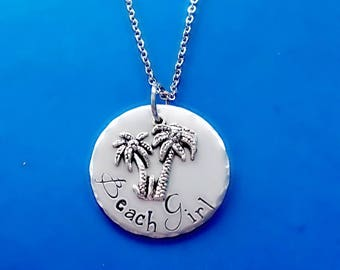 Hand Stamped Beach Girl Necklace, Palm Tree Pendant Necklace, Stainless Steel, Personalized Gift for Her