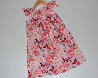 Seaside Dress Butterflies & Roses Size 7, pink dress, girls clothing, 7 year old, girls dress, gifts under 50, handmade dress, flowers