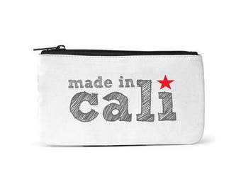 City Living Pouch - California - Made In Cali -  Zipper pouch - Cosmetic pouch - Toiletry Travel pouch  - Birthday Gift - Hometown - Organic
