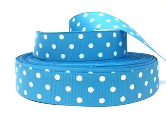 Turquoise Ribbon, Turquoise Grosgrain, Polka Dot Ribbon, Polka Dot Grosgrain, Turquoise Dot Ribbon, Blue Polka Dot Ribbon, Blue White Ribbon