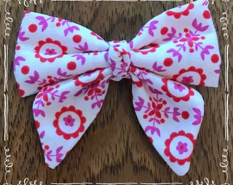 Red Pink white Fabric Hair Bow