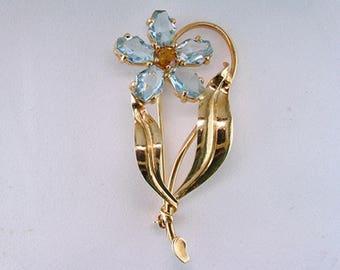 Antique Deco Genuine Cartier 7ct Aquamarine Topaz 14K Gold Pin/Brooch