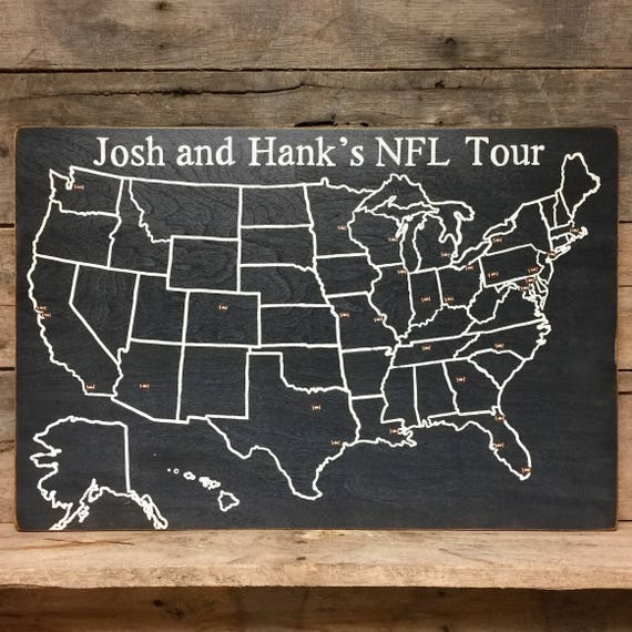 Football Travel Map NFL Stadium US Wood Map USA Travel - Personalized us travel map