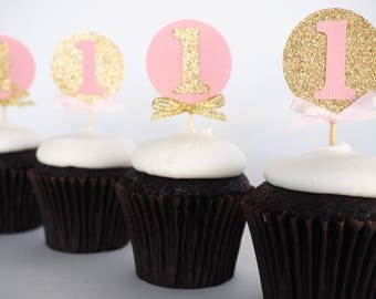 First birthday cupcake toppers | Pink and gold glitter one toppers | 1st birthday | Girls first birthday | 1 cupcake toppers | Cupcake picks