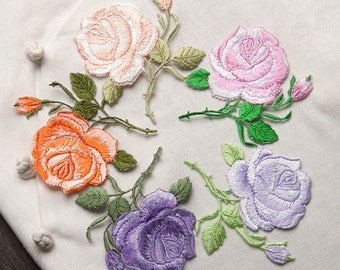 2 pcs Flower patch, Iron On patch, Rose patch, Rose applique, Embroidered flower applique, Collar patch, Rose patches, embroider patch
