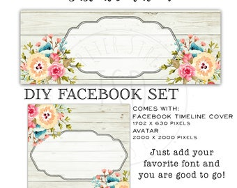 DIY Instant Download Facebook Set-Facebook Timeline Cover-Wood Facebook Set-Vintage Facebook Set-Flower Facebook Set