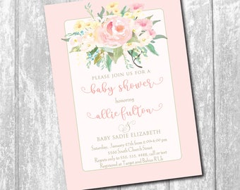 Baby Girl Shower Invitation printable/floral, watercolor, pink, calligraphy, classic, simple, couples/Digital File/wording can be changed