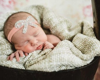 Sweet Pea Baby Girl Headband - Rhinestone Bow Headband - Baby Accessories - Photoshoot prop - Christening - Baptism - Birthday - Flower Girl