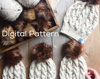 Cable Knit Hat Digital Pattern in Multiple Sizes // Mommy and Me Cable Knit Hat Pattern