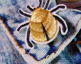 Gold Insect Patch Sew Iron on Embroidered Colourful Beetle Bug Applique for Customised Jackets and Clothing Fabric Hot Fix Badge UK