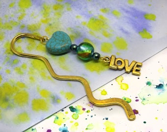 Small golden bookmark - Unique metal bookmark for teen - Love charm bookmark - Turquoise bookmark - Girls bookmark - Gift for friend