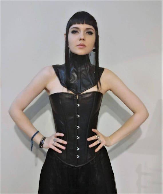 Black Leather Corset Fetish Goth Front Buskfront Spiral & Flat
