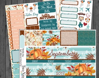 September Monthly Sticker Kit: Welcome Autumn, Erin Condren Stickers, Planner Stickers, September Stickers