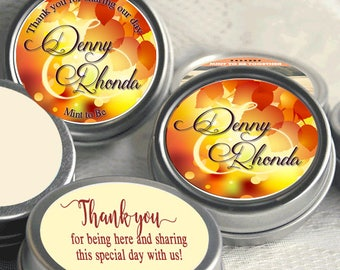 12 Personalized Fall Mint Tins -  Autumn -  Fall Wedding - Fall Bridal Shower - Mint Favor Keepsake -  Thank You Gift - Fall in Love