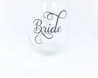 Bride Stemless Wine Glass, Bride Gift, Bride Wine Glass, Bridal Shower Gift, Engagement Gift, Wedding Wine Glass, Bride, Bride Glass