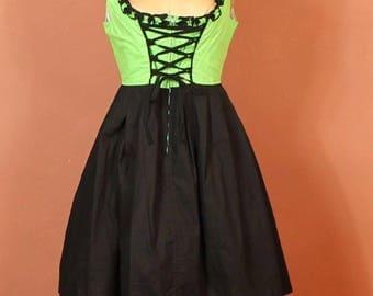 Vintage Dirndl Dress Trachten German Corset Victorian Steampunk Costume UK 12...US 8