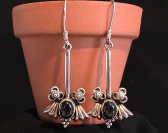 Vintage Black Onyx Studs Earrings...Sterling Silver Earrings...Handcrafted...Ethnic...Gypsy...Hippie...Vintage Shop