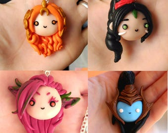 League of Legends ALL CHARACTERS Necklace or Keychain Chibis