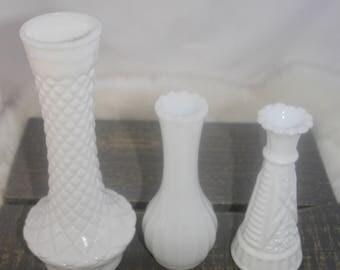 Set of three 3 Vases, milk glass