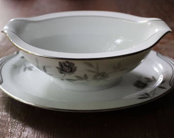 Vintage Rosamor Noritake Gravy Boat with Attached Underplate Grey Roses c1957-75