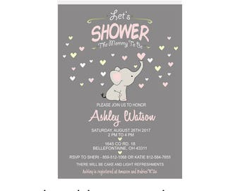 FREE SHIPPING - ELEPHANT Baby Shower Invitation, Baby Shower Invitation Elephant, Baby Shower Invitation Girl, Baby Shower Invite Girl