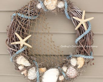 Beach Wreath Shell Wreath Seashell Wreath Rustic Beach Wreath Coastal Wreath Beach Decor Coastal Decor Grapevine Wreath Nautical Wreath