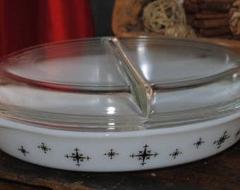 Vintage White Pyrex, Tab Handle, Divided Casserole Dish with Lid and with the Black Compass/Starburst Design